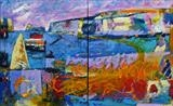 Harbour Diptych by Graham Cox, Painting, Oil on canvas