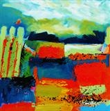Landscape with Red and Blue. by Graham Cox, Painting, Oil on canvas