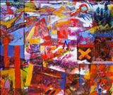 Layered Landscape One by Graham Cox, Painting, Mixed Media on Canvas