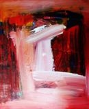 Red Landscape with Waterfall by Graham Cox, Painting, Acrylic on canvas
